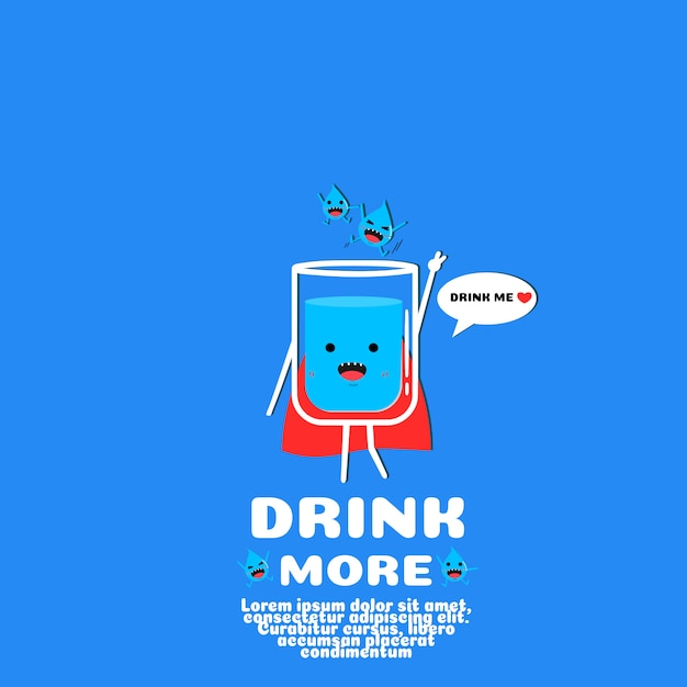 Schattig water cartoon vector. drink meer concept Premium Vector