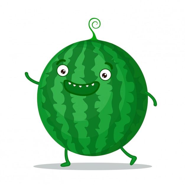 Schattig watermeloen zwaaien Premium Vector