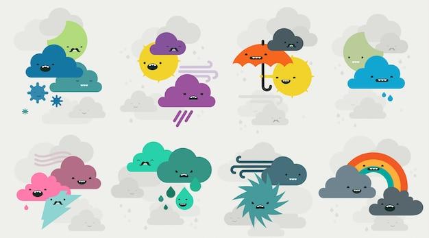 Schattig weer emojis tekens collectie Premium Vector