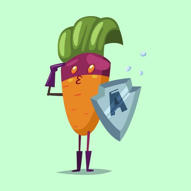Schattig wortel stripfiguur van een groente in een superheld kostuum, masker en metalen schild. vector concept illustratie voor een gezond eten en levensstijl. Premium Vector