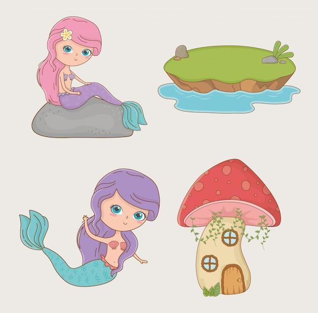 Schattig zeemeermin sprookjesachtig karakter met items Gratis Vector