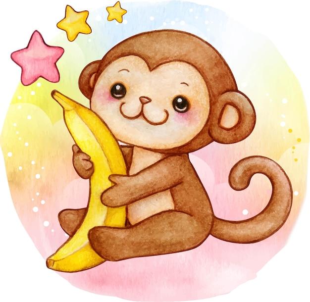 Schattige aquarel baby aap met banaan zittend op raiinbow achtergrond Premium Vector