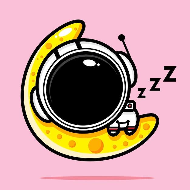 Schattige astronaut die degelijk op de maan slaapt Premium Vector