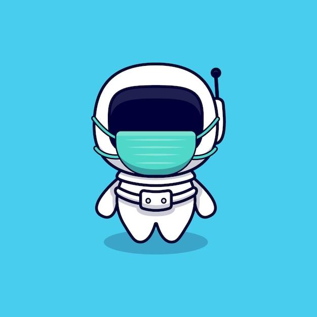 Schattige astronaut dragen masker cartoon. flat cartoon stijl Premium Vector