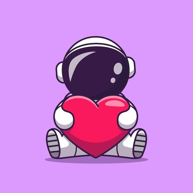 Schattige astronaut hart liefde cartoon pictogram illustratie te houden. wetenschap technologie pictogram concept geïsoleerd. platte cartoon stijl Gratis Vector