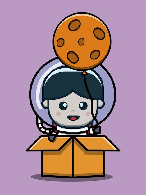 Schattige astronaut jongen in doos cartoon pictogram illustratie Premium Vector