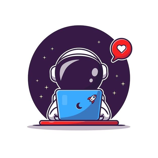 Schattige astronaut operationele laptop cartoon vectorillustratie pictogram. wetenschap technologie pictogram Gratis Vector