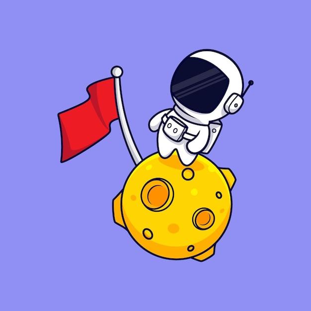 Schattige astronaut staande op de maan cartoon. flat cartoon stijl Premium Vector