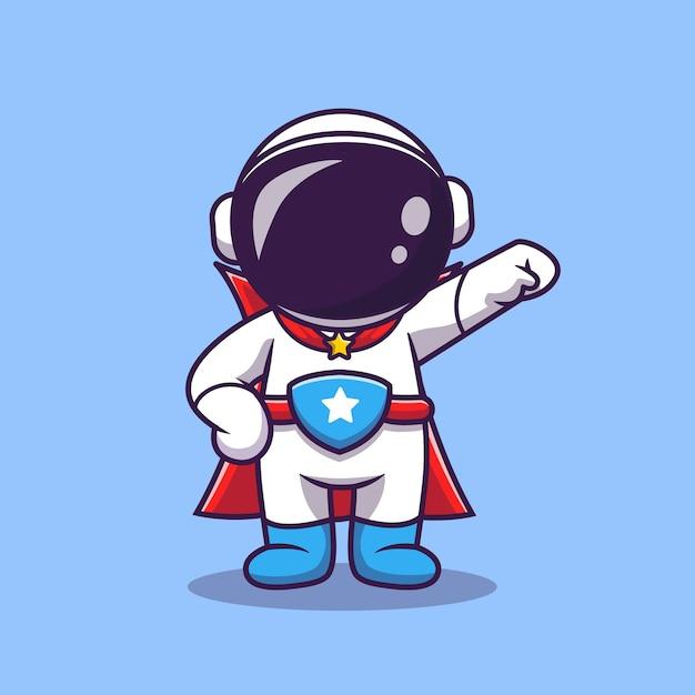Schattige astronaut super hero cartoon vectorillustratie pictogram. wetenschap technologie pictogram Gratis Vector