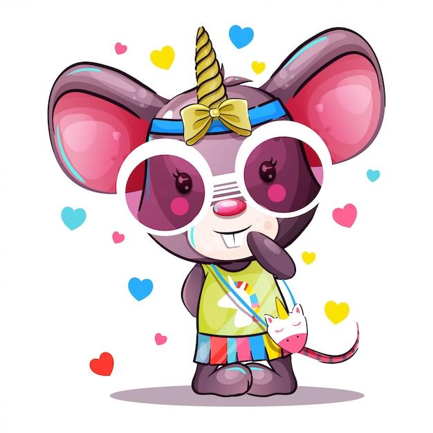 Schattige baby cartoon muis in eenhoorn kostuum Premium Vector