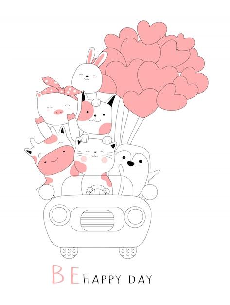 Schattige baby dier met auto cartoon hand getrokken stijl Premium Vector