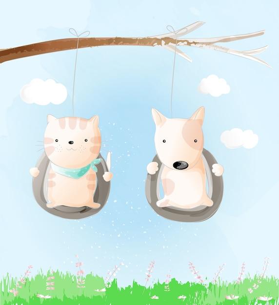 Schattige baby kat en hond aquarel stijl Premium Vector
