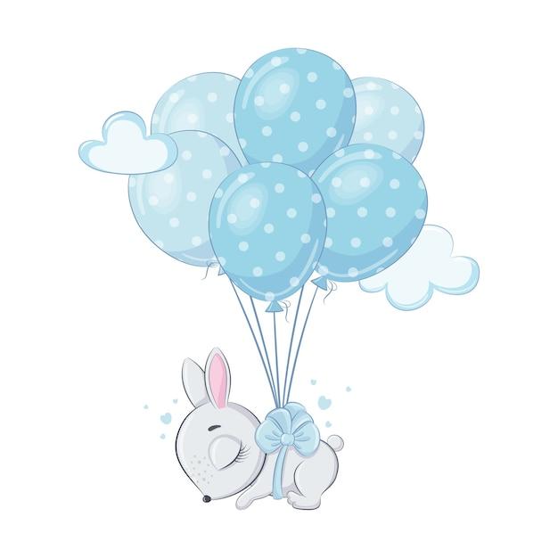 Schattige baby konijntje met ballonnen slaapt Premium Vector