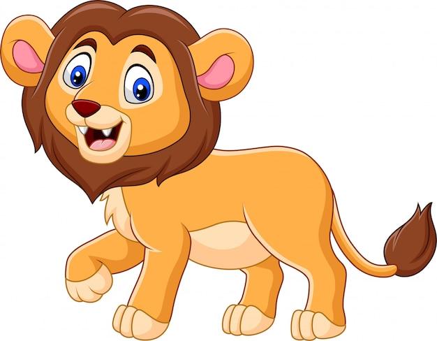 Schattige baby leeuw cartoon Premium Vector