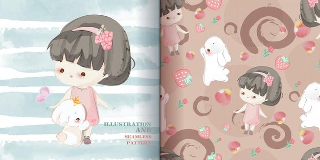 Schattige baby meisje hand getekend in zoete aquarel stijl naadloze patroon. Premium Vector