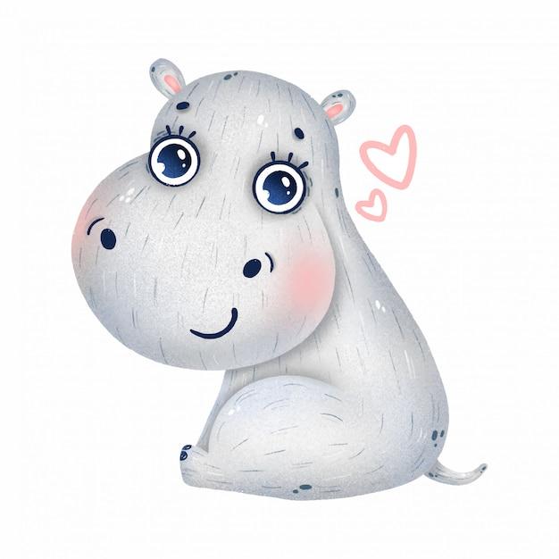Schattige baby nijlpaard met grote ogen en harten op een witte achtergrond Premium Vector