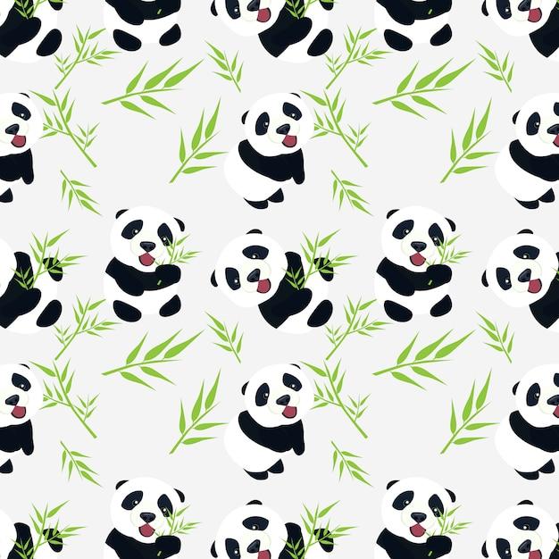Schattige baby panda met bamboe verlaat naadloze patroonontwerp Premium Vector