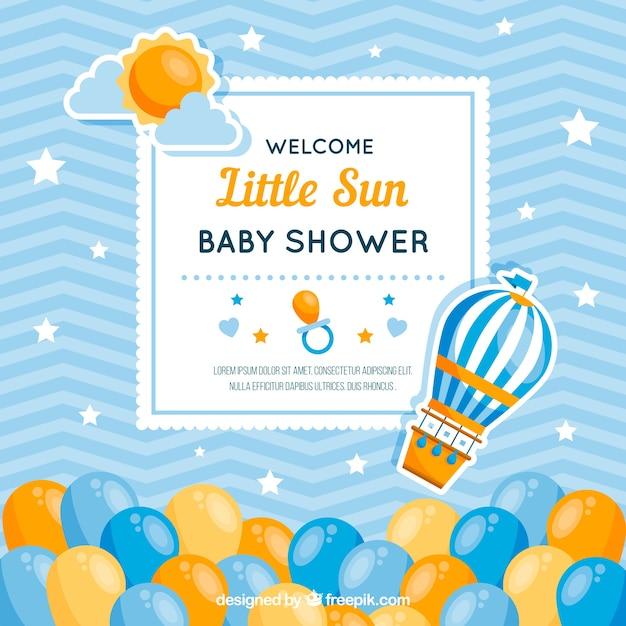Schattige baby shower kaart Premium Vector