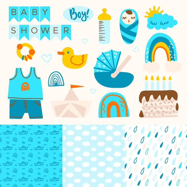 Schattige baby shower plakboek elementen collectie Premium Vector
