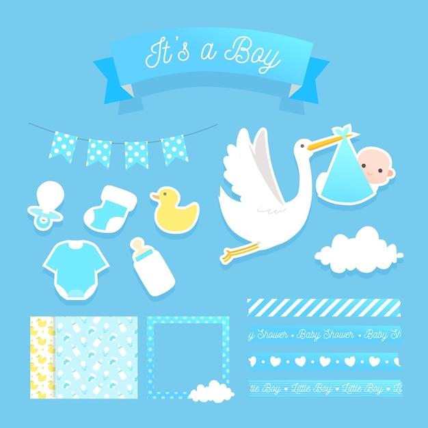 Schattige baby shower plakboek elementen instellen Premium Vector