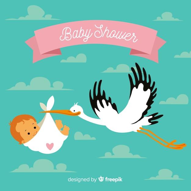 Schattige baby shower sjabloon met platte ooievaar Gratis Vector