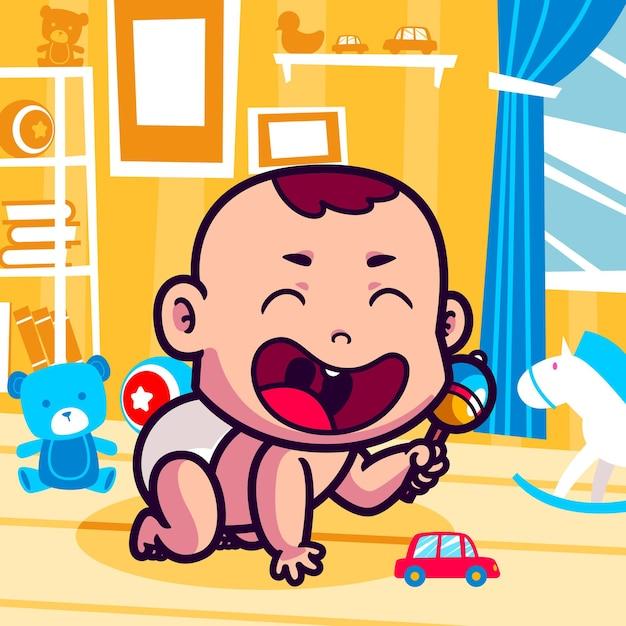 Schattige baby spelen met speelgoed cartoon Premium Vector