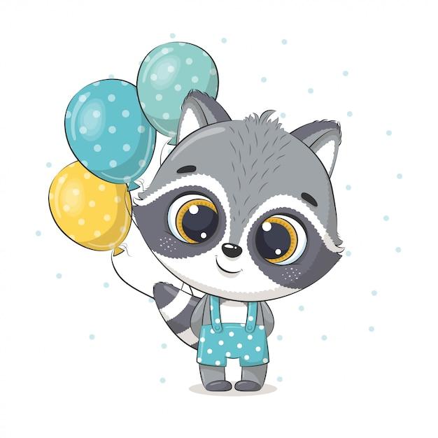 Schattige baby wasbeer met ballonnen. illustratie voor babydouche, wenskaart, uitnodiging voor feest, mode kleding t-shirt print. Premium Vector