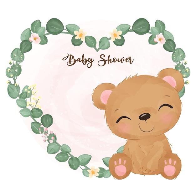 Schattige babydouche decoratie in aquarel illustratie Premium Vector