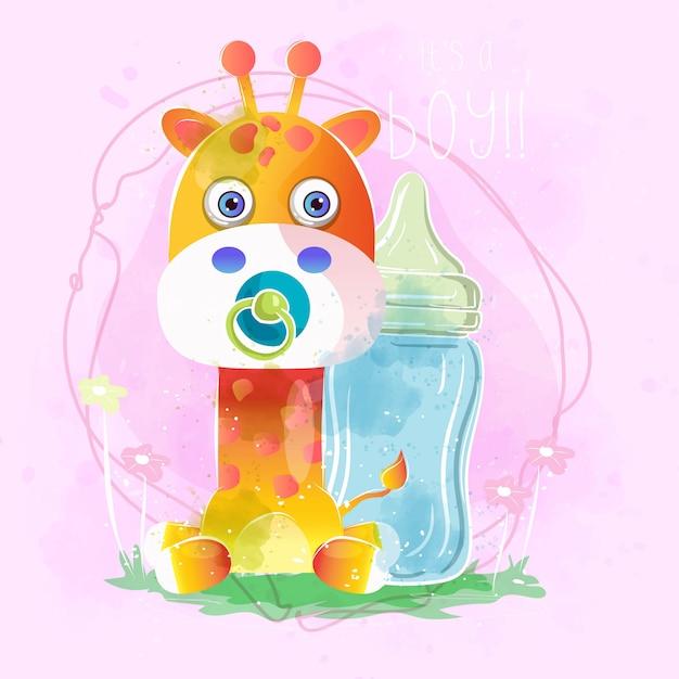 Schattige babyjongen giraffe Premium Vector