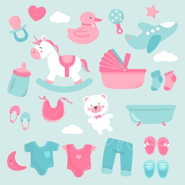 Schattige babykamer decoratie Gratis Vector