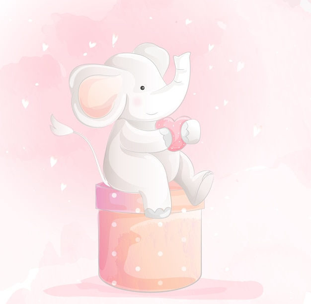 Schattige babyolifant aquarel stijl Premium Vector