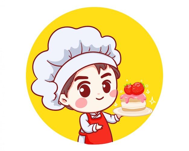 Schattige bakkerij chef jongen holding cake glimlachend cartoon kunst illustratie logo. Premium Vector