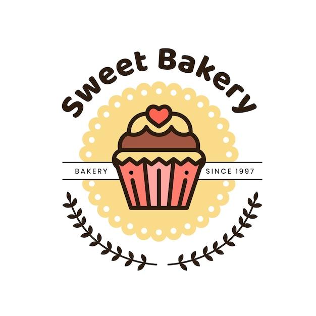 Schattige bakkerij taart logo Premium Vector