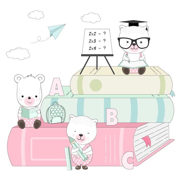 Schattige beer cartoon en boeken illustratie Premium Vector