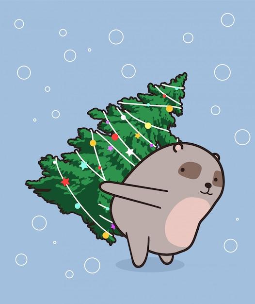 Schattige beer heft een kerstboom op Premium Vector
