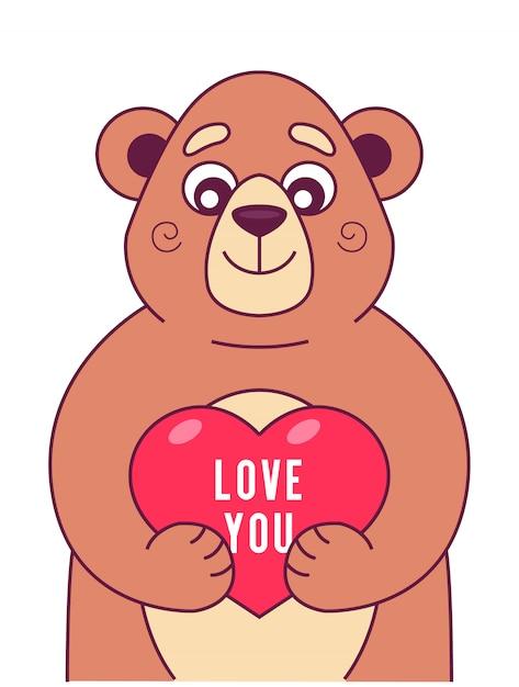 Schattige beer houdt het hart in zijn poten. karakter Premium Vector