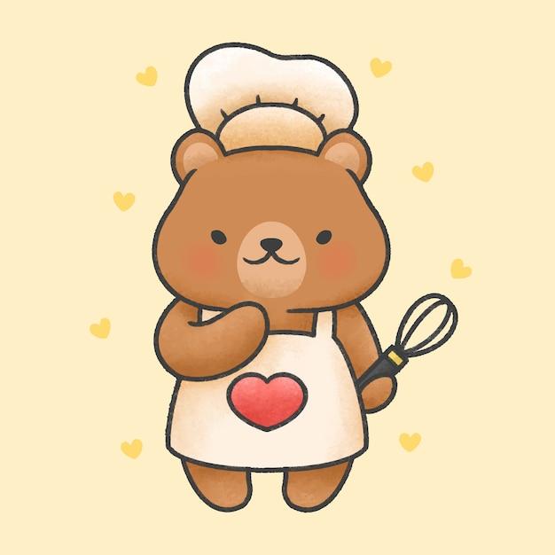 Schattige beer koken cartoon hand getrokken stijl Premium Vector