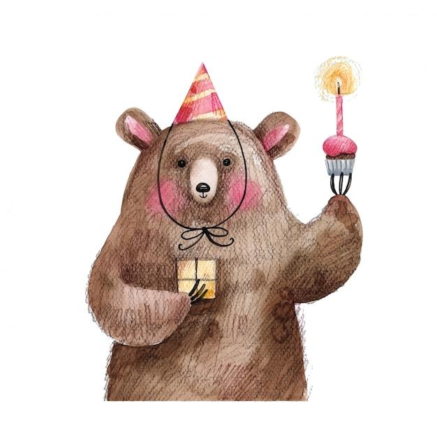 Schattige beer met een taart en een geschenk in een feestelijke pet wenst gelukkige verjaardag. handgetekende illustratie geïsoleerd op een witte achtergrond. Premium Vector