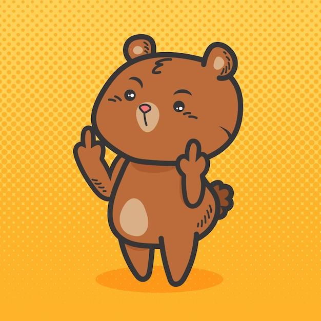 Schattige beer met het fuck you-symbool Premium Vector