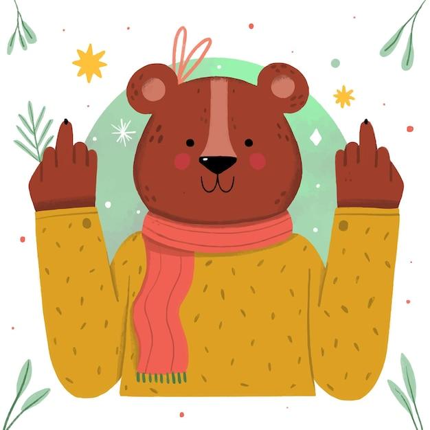 Schattige beer met het fuck you-symbool Gratis Vector