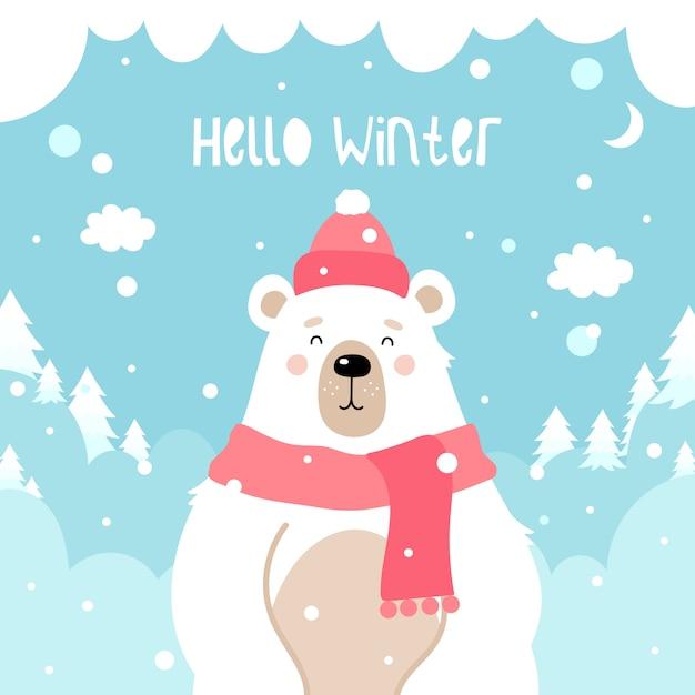 Schattige beer op een winter Premium Vector