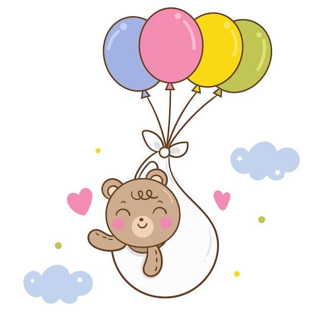 Schattige beer vector op pastel ballon cartoon Premium Vector