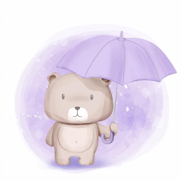 Schattige berenstandaard en paraplu gehouden Premium Vector