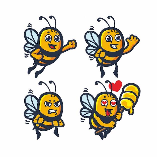 Schattige bijen honing vector set bundel Premium Vector