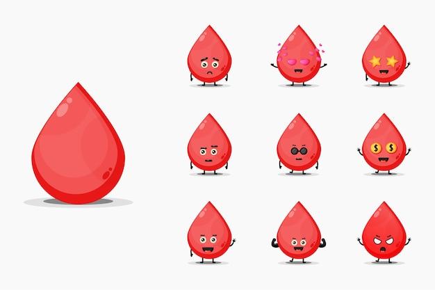 Schattige bloed mascotte set Premium Vector
