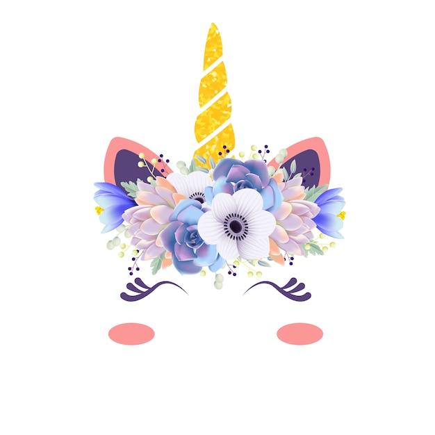 Schattige bloemeneenhoorn Premium Vector