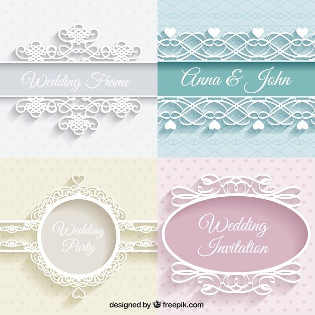 Schattige bruiloften ornamenten Gratis Vector