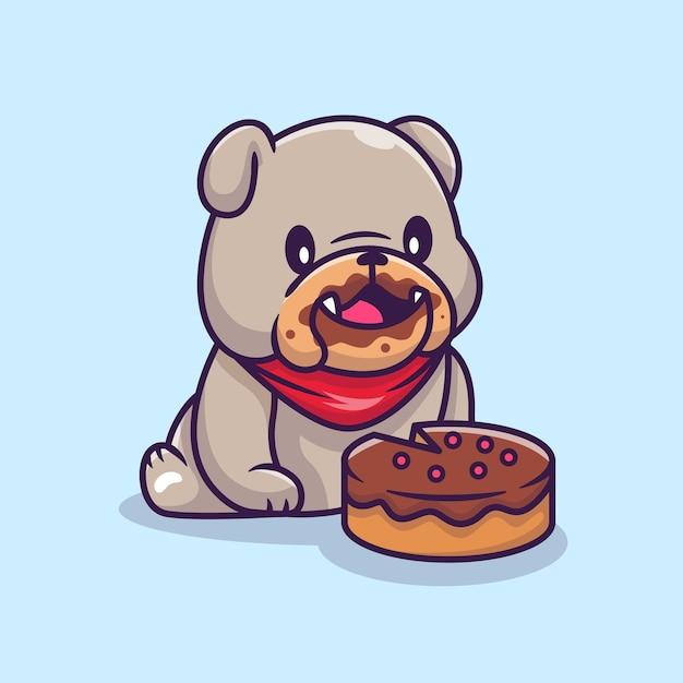Schattige bulldog eten taart cartoon vectorillustratie. animal food concept geïsoleerde vector. flat cartoon stijl Gratis Vector