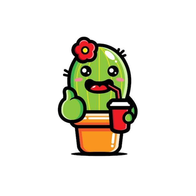 Schattige cactus drinkt frisdrank Premium Vector