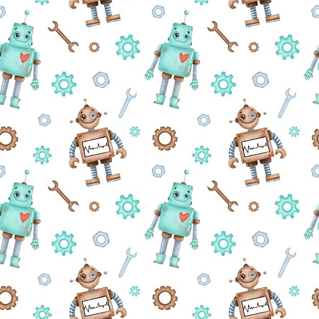 Schattige cartoon cartoon robots naadloze patroon Premium Vector